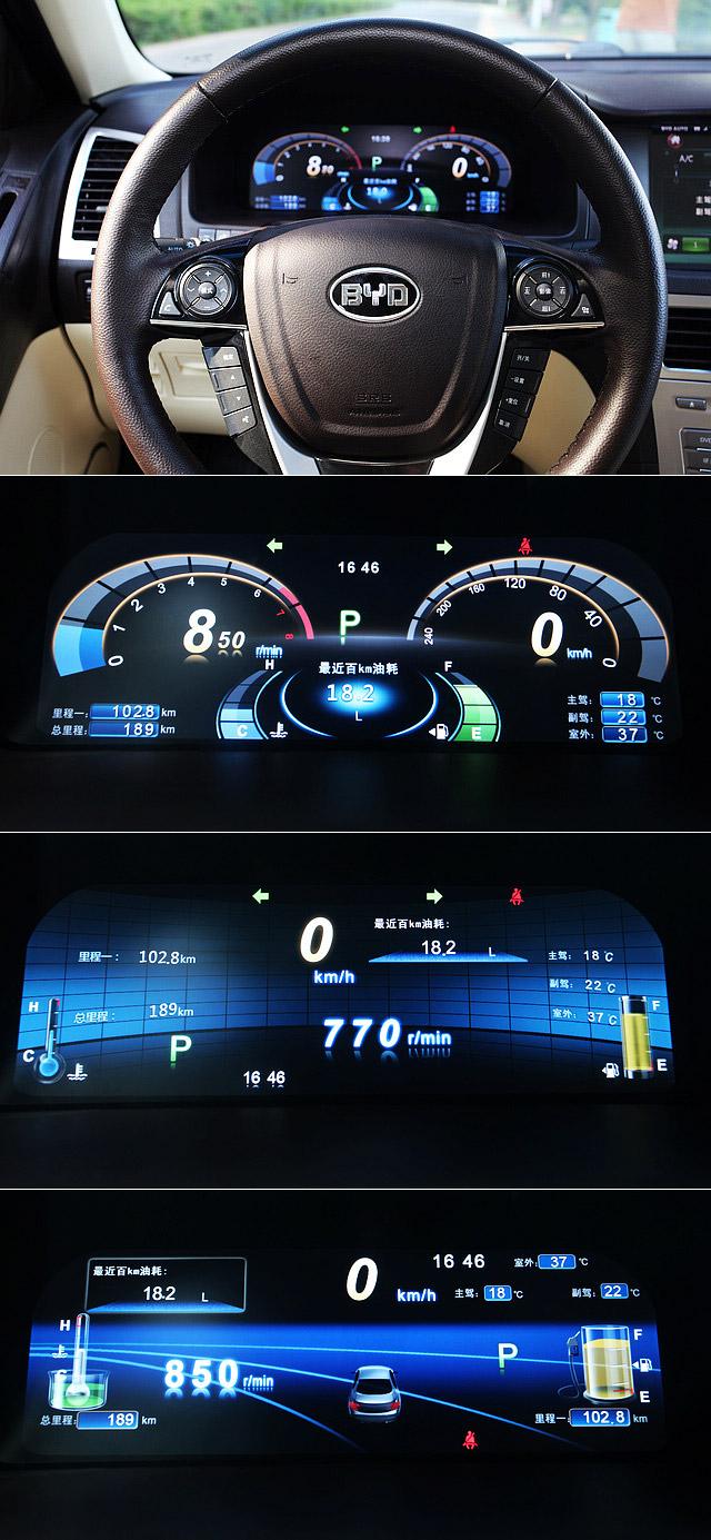 """12.1英寸的全液晶仪表板具备三种主题模式,可由驾驶者根据个人喜好自行调节,虽然整体的配色与界面设计风格颇有那么一点华强北的""""山寨""""的感觉,某些界面下对于数据的实际读取并不一定十分方便,但不可否认的是,这个大尺寸的液晶仪表板的确有效提升了整车的科技感,相信也会成为思锐吸引消费者的一大卖点。"""
