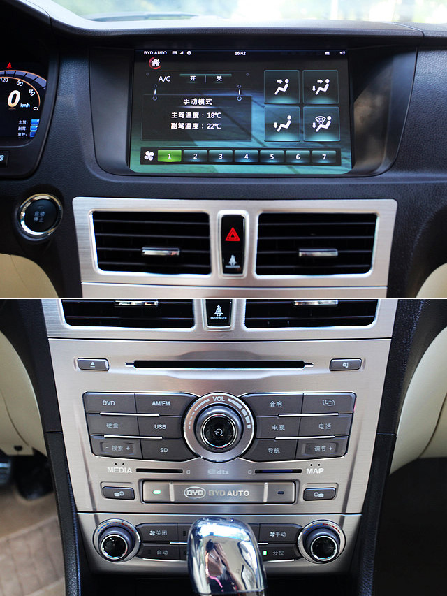 中控台顶端的10.2英寸触摸屏则是比亚迪思锐整个车载多媒体信息系统的核心,在这个电容式触摸屏上可以进行相关的各项操作。比亚迪车内各种功能按键都采用汉字对功能进行了标注,虽然看起来感觉有点山寨,但对于英文水平欠佳的消费者而言,的确考虑得十分周到。