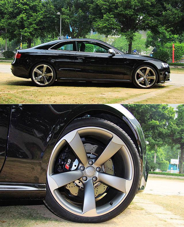 20寸的5幅式轮圈搭配倍耐力P Zero275/30R20的轮胎,让RS5散发出更浓的霸气。RS5采用了钻孔透气刹车碟,前轮碟片尺寸达到365mm,并搭载了前轮8活塞卡钳,确保车辆拥有充足而持久的制动力。