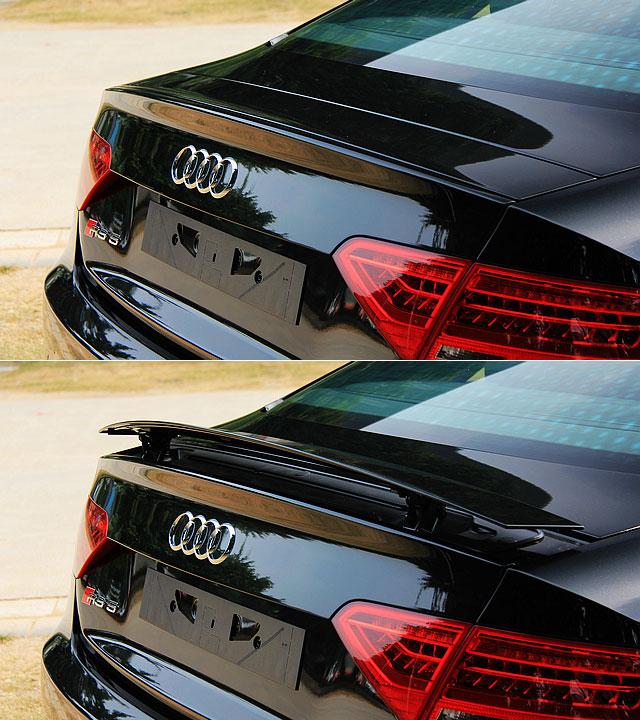 RS5在车尾箱顶部还设计了电动升降的扰流尾翼,在车速超过120km/h时,尾翼将自动升起,提供更强的下压力,而车主也可以通过车内的按键,手动控制尾翼的升降。