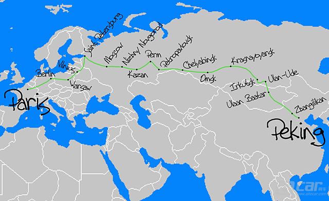 """1907年时的""""北京到巴黎""""路线图_副本"""